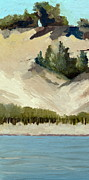 Water Way Paintings - Lake Michigan Dune with Trees Diptych by Michelle Calkins