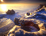 Frozen Beach Shore Prints - Lake Michigan Morning Print by Ray Mathis