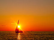 Sail Boats Posters - Lake Michigan Sunset Poster by Bill Gallagher