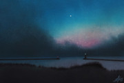Michigan Pastels Prints - Lake Michigan with Evening Star Print by Robin Street-Morris