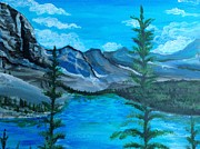 Outlook Painting Prints - Lake Moraine Print by Beth Waltman