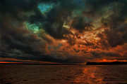 Stormy Digital Art Posters - Lake Murray Fire Sky Poster by Steven Richardson
