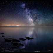 Milky Way Framed Prints - Lake Oahe Framed Print by Aaron J Groen