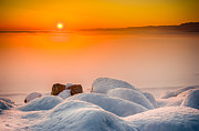 Frozen Lake Posters - Lake Pepin Winter Sunrise Poster by Mark Goodman