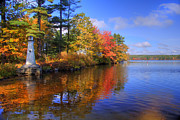 Autumn Scenes Posters - Lake Potanipo Lighthouse Poster by Joann Vitali