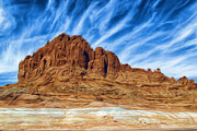 Mountain Digital Art Prints - Lake Powell Rocks Print by Ayse T Werner
