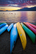 Kayaks Prints - Lake Quinault Kayaks Print by Inge Johnsson