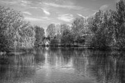 Ripples Of Black And White Prints - Lake Reflections Mono Print by Jeremy Hayden
