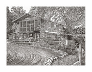 Pen And Ink Framed Prints Prints - Lake Roberts NM  Gen Store Print by Jack Pumphrey