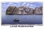 Surrealism Framed Prints - Lake Rushmore Framed Print by Mike McGlothlen