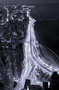 Road Posters - Lake Shore Drive Aerial  B and  W Poster by Steve Gadomski