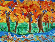 Autumn Landscape Drawings - Lake Shore Trees by Mary Carol Williams