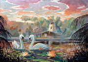 Geese Paintings - Lake Shrine - cool colors by Christopher Clark