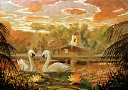 Geese Paintings - Lake Shrine - warm colors by Christopher Clark