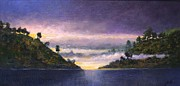 Water Scenes Painting Prints - Lake Sunrise Print by Jim Gola