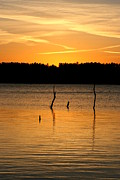 Sunset Posters Photo Framed Prints - Lake Sunset 3 Framed Print by Linda Fowler