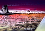 Water Reflecting At Sunset Posters - Lake Superior Bridge Poster by Ann Almquist