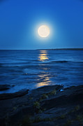 Moonlit Night Photos - Lake Superior Moonrise by Jill Battaglia