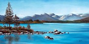 Waterscape Painting Posters - Lake Tahoe Blues Poster by Cynara Shelton