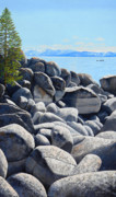 Snow Capped Originals - Lake Tahoe Boulder Shore by Frank Wilson