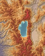 Geography Digital Art - Lake Tahoe Map Art by Paul Hein