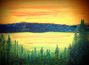 C.Carson Paintings - Lake Tahoe by Richard W Linford