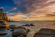 Sand Harbor Photos - Lake Tahoe Sunset by Marc Crumpler