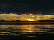 New Zealand Pyrography Prints - Lake Taupo Sunset NZ Print by Dean Ginther
