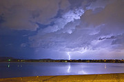 Lightning Prints Framed Prints - Lake View Lightning Thunderstorm Framed Print by James Bo Insogna