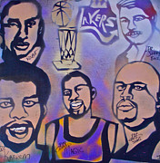 Magic Johnson Painting Originals - Lakers love Jerry Buss 1 by Tony B Conscious