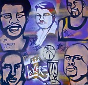 Magic Johnson Paintings - Lakers love JERRY BUSS 2 by Tony B Conscious