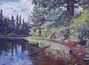 Water Reflections Originals - Lakes Edge  by David Lloyd Glover