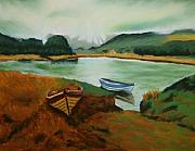 Boats Pastels Prints - Lakes of Killarney Print by Marion Derrett