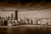 Lakeshore Framed Prints - Lakeshore Chicago Aloft BW Framed Print by Steve Gadomski