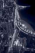 Lake Shore Drive Posters - Lakeshore Drive Aloft BW Cool Toned Poster by Steve Gadomski