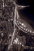 Chicago Black White Metal Prints - Lakeshore Drive Aloft BW Warm Metal Print by Steve Gadomski