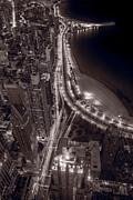 Lakeshore Drive Aloft Bw Warm Print by Steve Gadomski