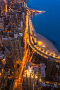 Lake Shore Drive Prints - Lakeshore Drive Aloft Print by Steve Gadomski