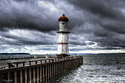 Stormy Weather Paintings - Lakeshore Lighthouse by Corey Wexler