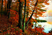 Red Leaf Digital Art - Lakeside Beauty by Lianne Schneider