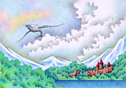 Humpback Drawings Posters - Lakeside castle Poster by T Koni