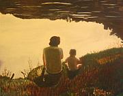 Troy Paintings - Lakeside Chat by Frank Troy