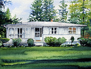 Country Cottage Posters - Lakeside Cottage Poster by Hanne Lore Koehler