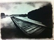 Beach Scenery Drawings Prints - Lakeside Print by Erin Filan