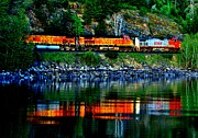 Burlington Northern Prints - Lakeside Haul Print by Benjamin Yeager
