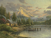 Evening Light Painting Prints - Lakeside Hideaway Print by Thomas Kinkade