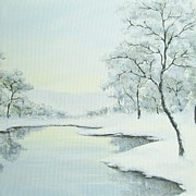 Pond And Trees Painting Acrylic Prints - Lakeside in Winter Acrylic Print by Anna Bronwyn Foley