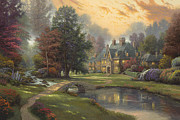 Serenity Posters - Lakeside Manor Poster by Thomas Kinkade