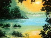 Serenity Landscapes Paintings - Lakeside   by Shasta Eone