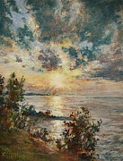 Great Art Pastels Framed Prints - Lakeside Sunset Framed Print by Barbara Smeaton